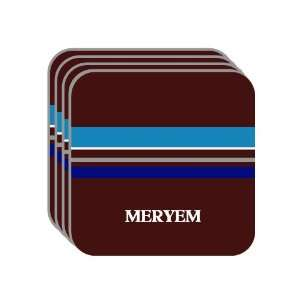 Personal Name Gift   MERYEM Set of 4 Mini Mousepad Coasters (blue