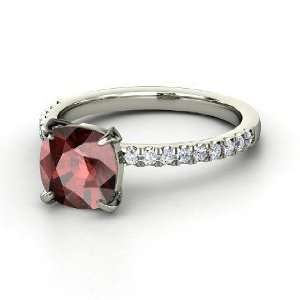 Cecilia Ring, Cushion Red Garnet Sterling Silver Ring with