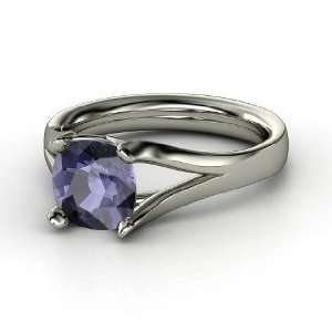 Enrapture Ring, Cushion Iolite 14K White Gold Ring