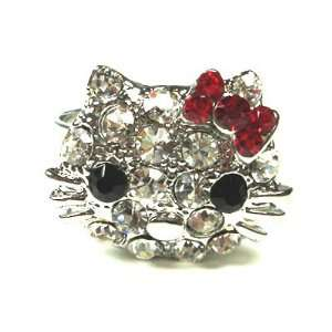 Kitty Cat Clear Rhinestone & Red Garnet Rhinestone Flower Bow Cocktail