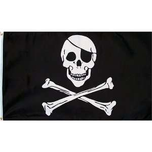 Pirate (Skull and Crossbones) Flag   3 foot by 5 foot Polyester