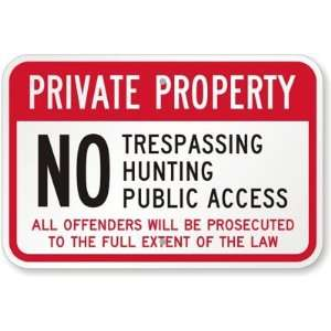 Private Property No Trespassing, Hunting, Public Access