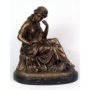 Thinking Lady Classical Sculpture in Cast Bronze Finish by