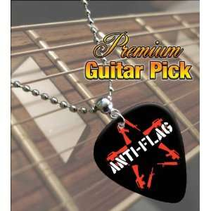 Anti Flag Logo Premium Guitar Pick Necklace: Musical