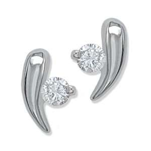.08CT Round Diamond Bar Earrings Gold and Diamond Source