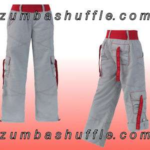 ZUMBA Fusion Cargo Pants   GRAY with RED   NEW