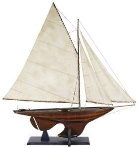Lrg Nautical Antiqued Yacht Ironsides Wooden Model Boat