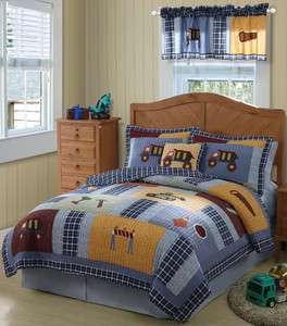 CONSTRUCTION WORK ZONE 3p Full/Queen Quilt Set Truck Bulldozer Bedding
