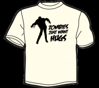 ZOMBIES WANT HUGS T Shirt MENS funny zombie eat flesh