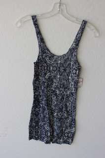 Free People womens blue floral mesh stretch fitted cami tank top XS $