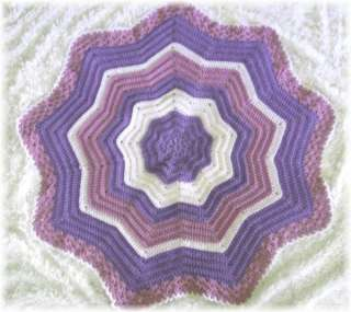 032 ROUND ADELINA ROSE Ripple Baby Afghan Crochet Pattern by REBECCA