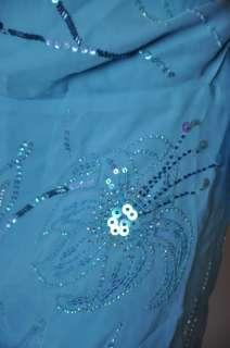 BCBG MAX AZRIA SEQUIN HALTER SILK DRESS BLUE 8 NWT $345