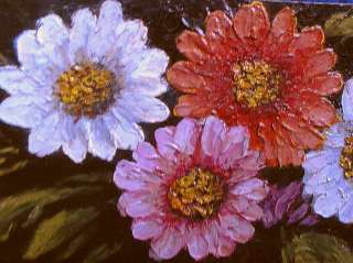 SMALL OIL PAINTING WOOD PANEL ZINNIAS TROMPE LOEIL