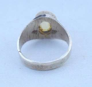 VINTAGE ANTIQUE ETHNIC TRIBAL OLD SILVER CITRINE STONE RING RAJASTHAN