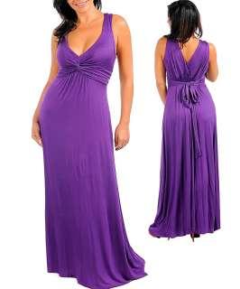 WOMANS PLUS SIZE SEXY FLIRTY LONG PURPLE MAXI DRESS 1XL 14/16 NWT