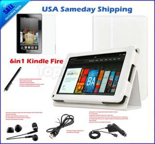 For Kindle Fire PU Leather Case Cover/Car Charger/USB Cable/Stylus