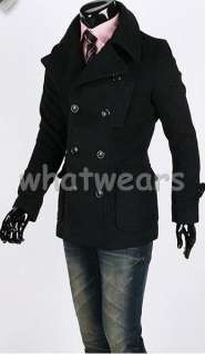 Mens Double Breasted Trench Coat /Jacket Black W54