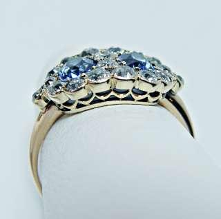 Antique Sapphire 1.25ct European Diamond 18K Gold Ring Estate Jewelry