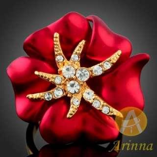 Sz6 Arinna Ladies sexy Red Enamel Rose Cocktail Rings Gold GP
