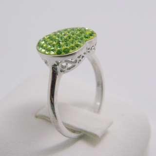 Apple Green Crystal Gemstone Genuine 925 Sterling Silver Heart