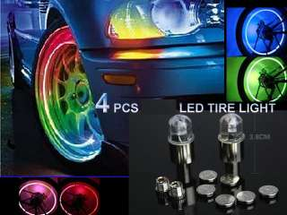pcs Blue LED Tyre Tire Valve Caps Neon Light Bike Car
