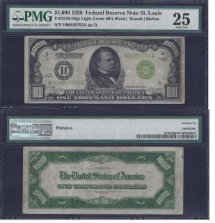 1928 $1000 ONE THOUSAND DOLLAR BILL FEDERAL RESERVE GOLD NOTE FRN PMG