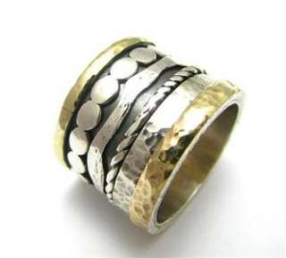 Engagement & Wedding 925 Silver 9K Gold Spinner Ring
