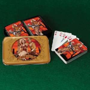 ROGERS Dale western PLAYING CARDS metal box game