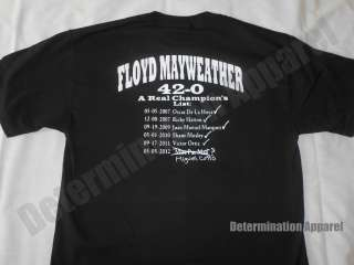 Floyd Mayweather T Shirt CHAMPIONS LIST Miguel Cotto Pacquiao