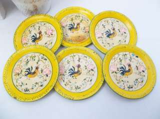 French Country Painted Rooster/Rose Yellow Paper Mache Tole Tray