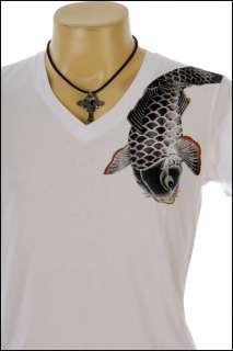 New Indie Rock Yakuza Tattoo Koi Fish White T Shirt S