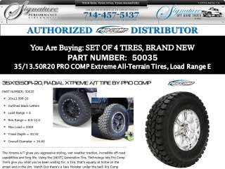35/13.50R20 Pro Comp Xtreme All Terrain A/T Tires