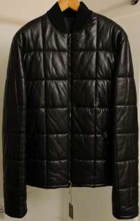 New GUCCI black leather jacket $4250 quilted puffer coat garment bag L