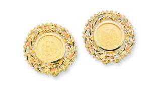 22K MEXICAN 2 PESOS COIN ON 14K TRI COLOR GOLD EARRINGS