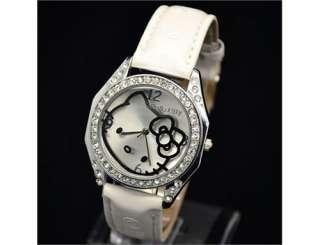 New Crystal HelloKitty Lady Girl Quartz WristWatch Leather White