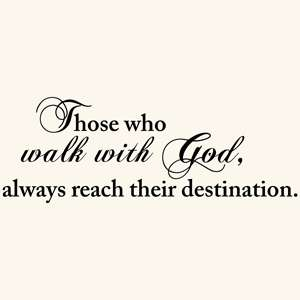 WALK WITH GOD QUOTE VINYL WALL DECAL STICKER ART CHRISTIAN HOME DECOR