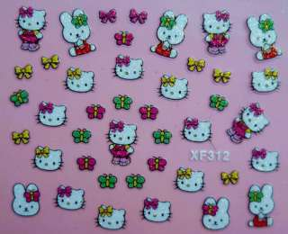 Hot sale 24 sheets Hello Kitty 3D Nail Art Sticker  24 different