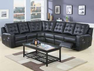 Tempe Modern Black Leather Reclining Sectional Sofa NEW