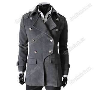 Mens Style Woolen Blends Double breasted Parka coat overcoat 3 color