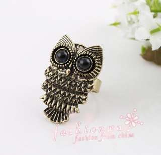 3pcs Ancient Bronze Plated Cute With Big Eyes Owl Rings