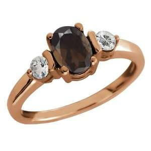 03 Ct Oval Brown Smoky Quartz and Topaz Gold Plated Sterling Silver