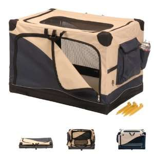 Soft Side Pet Crate Navy / Tan 42 x 28 x 28   783871