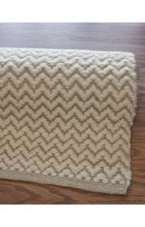 Hand Woven Wool Carpet Area Rug 4 x 6 Ivory Chevron