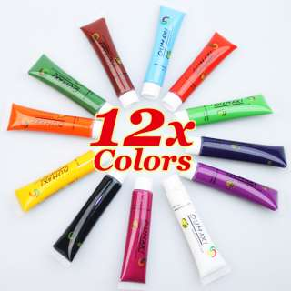 12 Hot Color Pro Acrylic Paint Nail Art Painting Pigment Design Tips