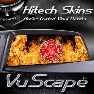 Vuscape Truck Rear Window Graphic   FIRE FIGHTER 11