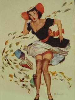 SI VANDERLAUN PINUP GIRL WINDBLOWN SKIRT PLAYING CARD