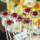 50p Clear Rosy Crystal Blossom Wedding Bridal Hairpins