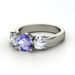 Arpeggio Ring, Round Tanzanite 14K White Gold Ring with