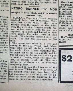 MO Negroes Banished Lynchings MISSOURI RACE RIOT 1901 Newspaper