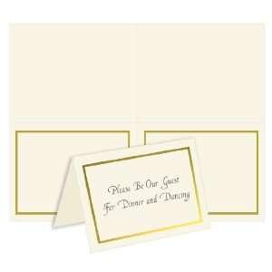 2 Up Printable Note Card   Foil Border   Ecru Gold (50